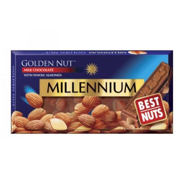 Молочный шоколад Millennium Golden Nut с миндалем 100г