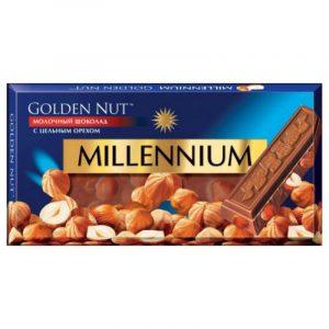 Молочный шоколад Millennium Golden Nut с лесными орехами 100г